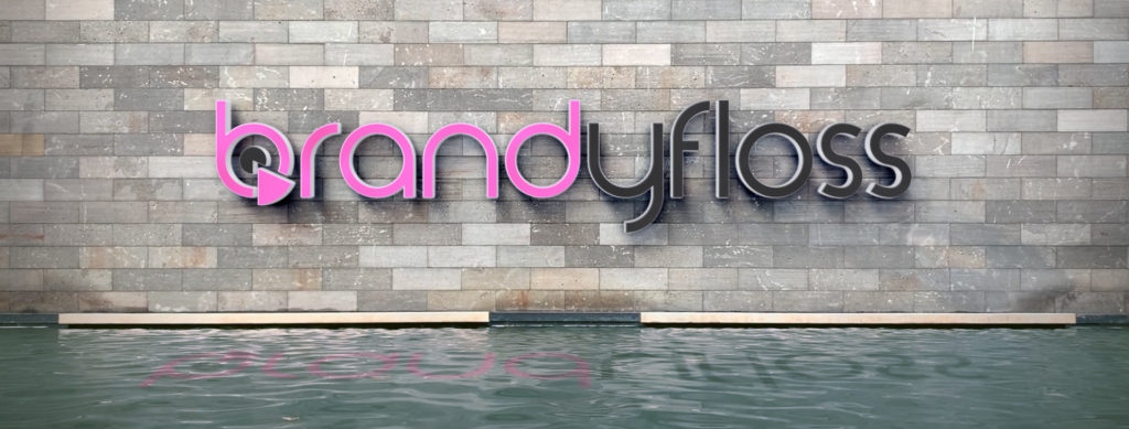 brandyfloss logo on wall above water feature